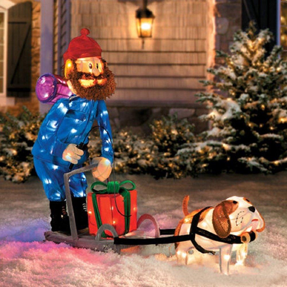 Christmas 42'' Yukon Cornelius Dog Sleigh Scene Outdoor Tinsel Decoration