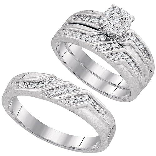 10 K oro blanco Trio His & Hers redondo diamante solitario novia juego anillos de boda