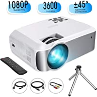 "Mini Projector, TOPELEK Video Projector (2019 Upgraded) 1080P Supported with 3600 Lumens & ±45° Vertical Keystone Correction; LED Portable Projector with 2000:1 Contrast Ratio, 200"" Display (w/Tripod)"
