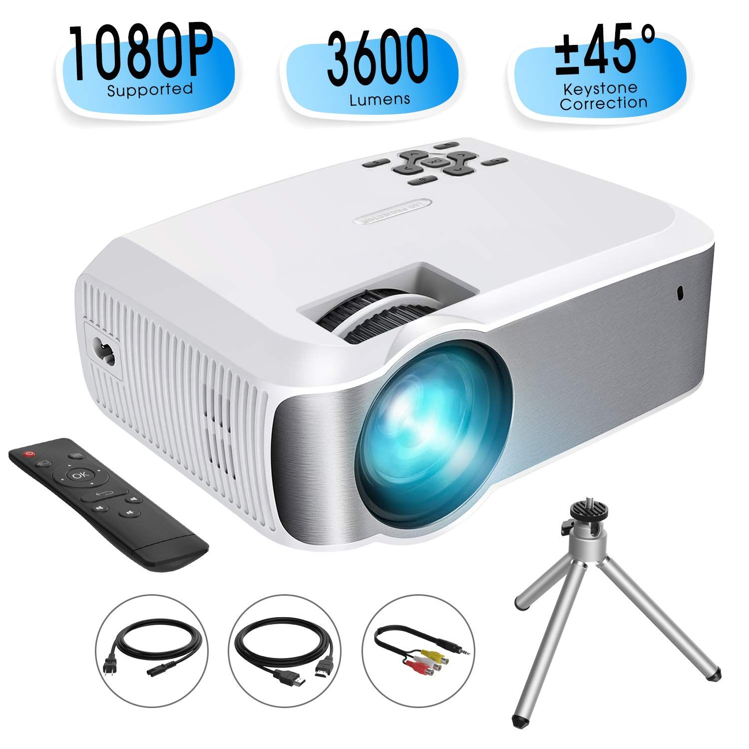 Mini Projector, TOPELEK Video Projector (2019 Upgraded) 1080P Supported with 3600 Lumens & ±45° Vertical Keystone Correction; LED Portable Projector with 2000:1 Contrast Ratio, 200'' Display (w/Tripod)