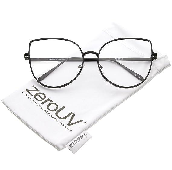 b81570f8ee3 zeroUV - Women s Oversize Metal Frame Slim Arms Flat Lens Cat Eye Glasses  59mm (Matte