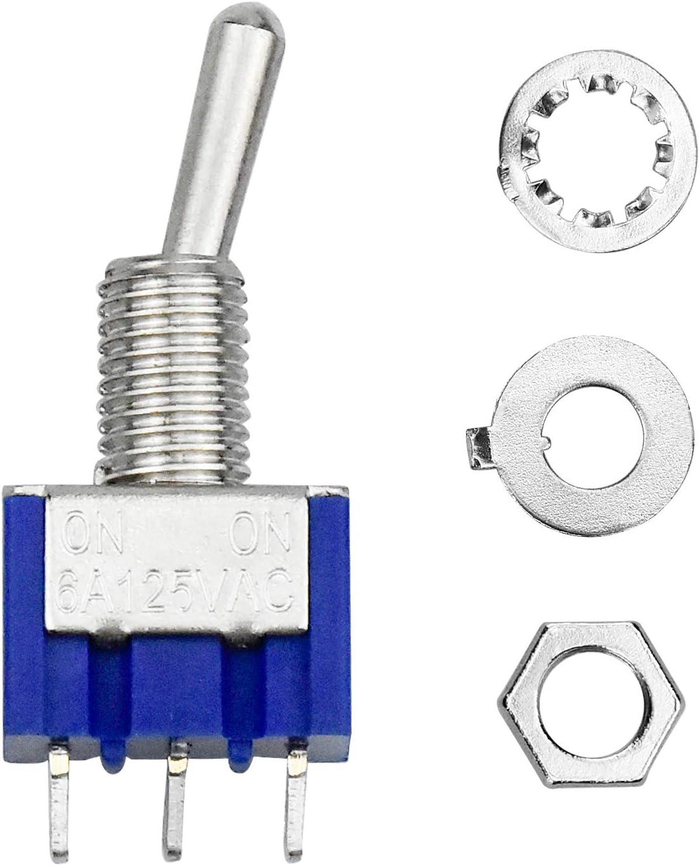 AC 125V 6A ON-ON Mini MTS102 Toggle Switch SPDT Bleu WEKON Lot de 10 Interrupteur /à Bascule 3 Broches 2 Position SPDT Interrupteur a Bascule Autobloquant pour Pi/èces Dauto