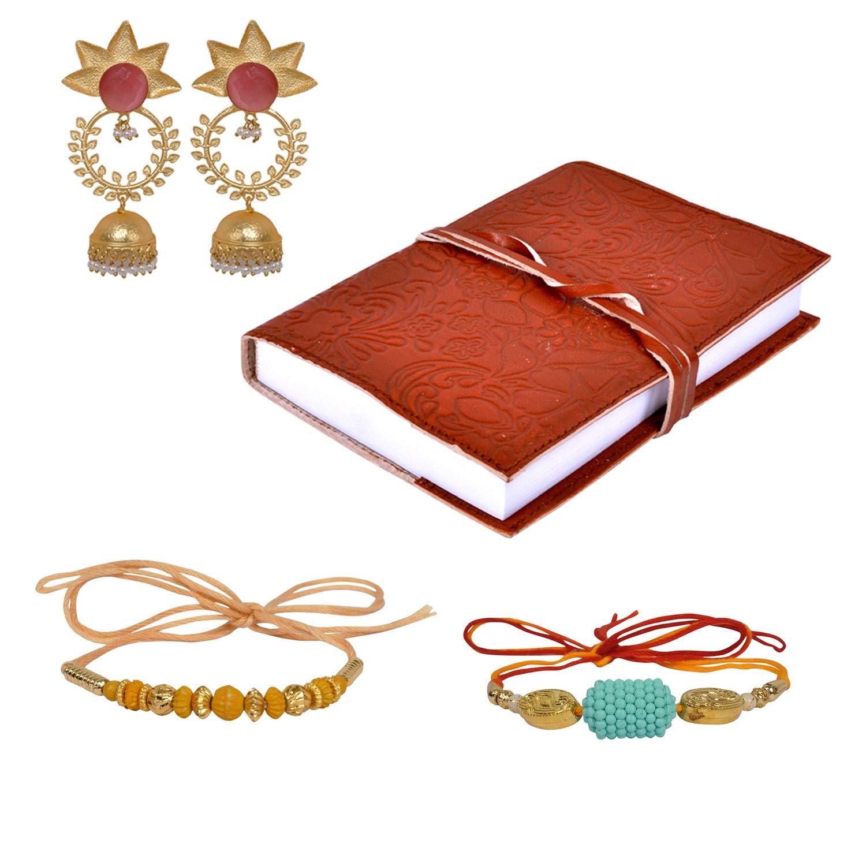 Lalhaveli Rakhi Special Combo Gift (Earrings, Diary, Rakhi)