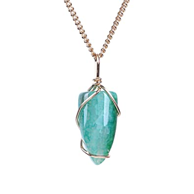 Amazon.com: Bonnie Natural Stone Pendant Necklace Irregular Wire ...