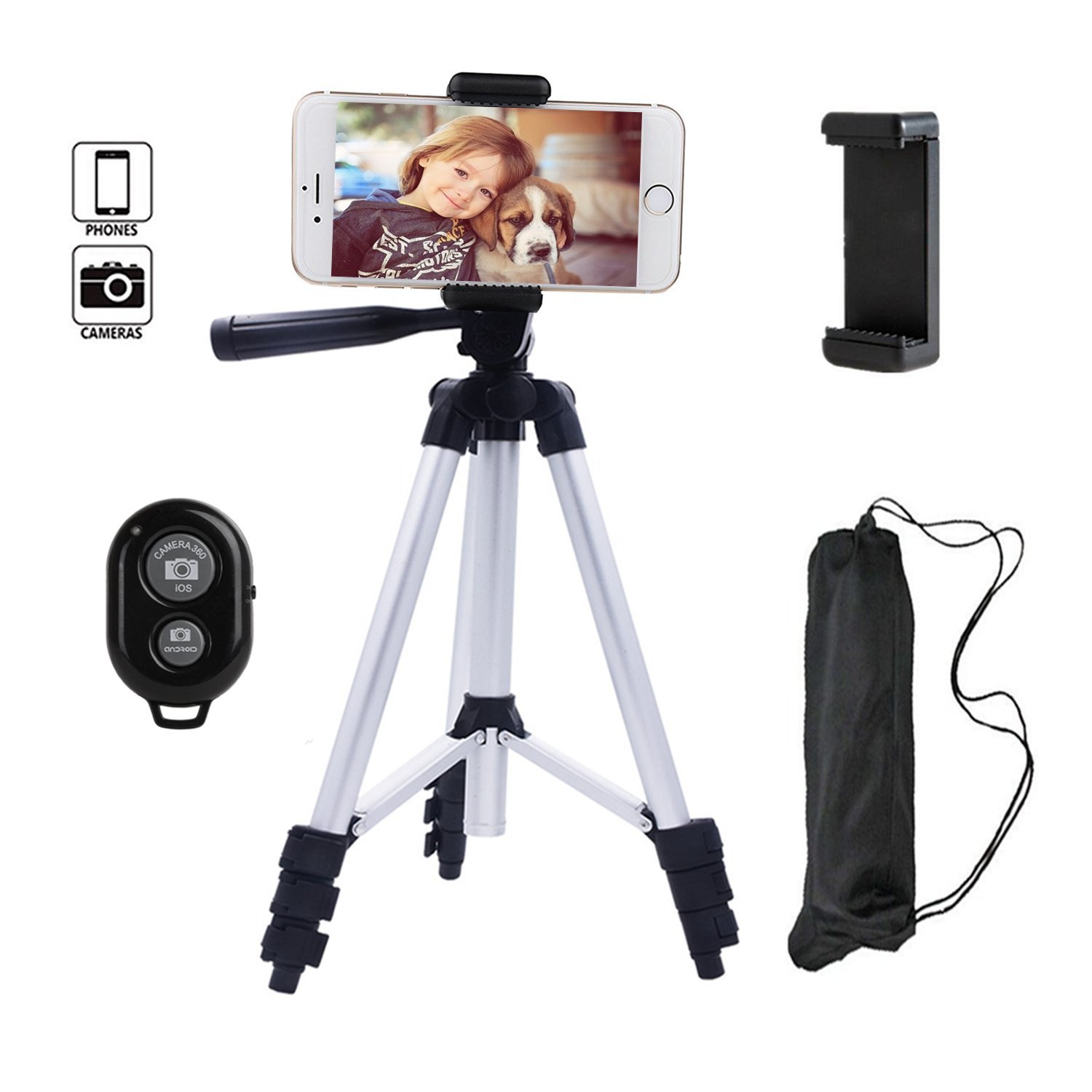 Behomy 42 Inch Aluminum Smart Phone Camera Tripod ,Phone Tripod with Phone Holder and Bluetooth Shutter Control Remote,Tripod for iPhone,Android Smart phone and Camera with Storage Bag (Silver)