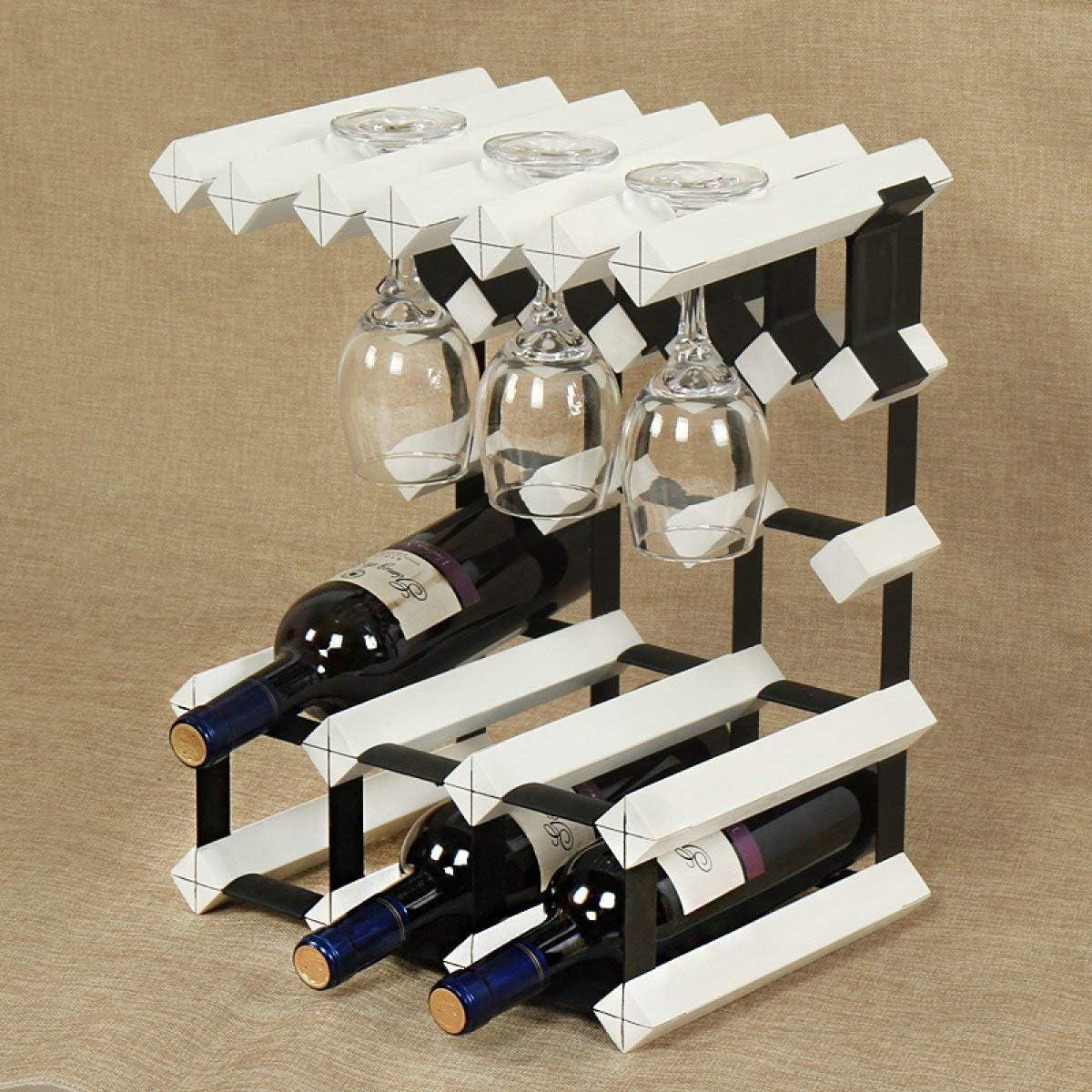 El estante del vino NaNa Estante del vino adornos de madera maciza creativo restaurante armario de vino europeo sólido bastidor copa de madera estante del vino (Color: Blanco) estante de cristal del v