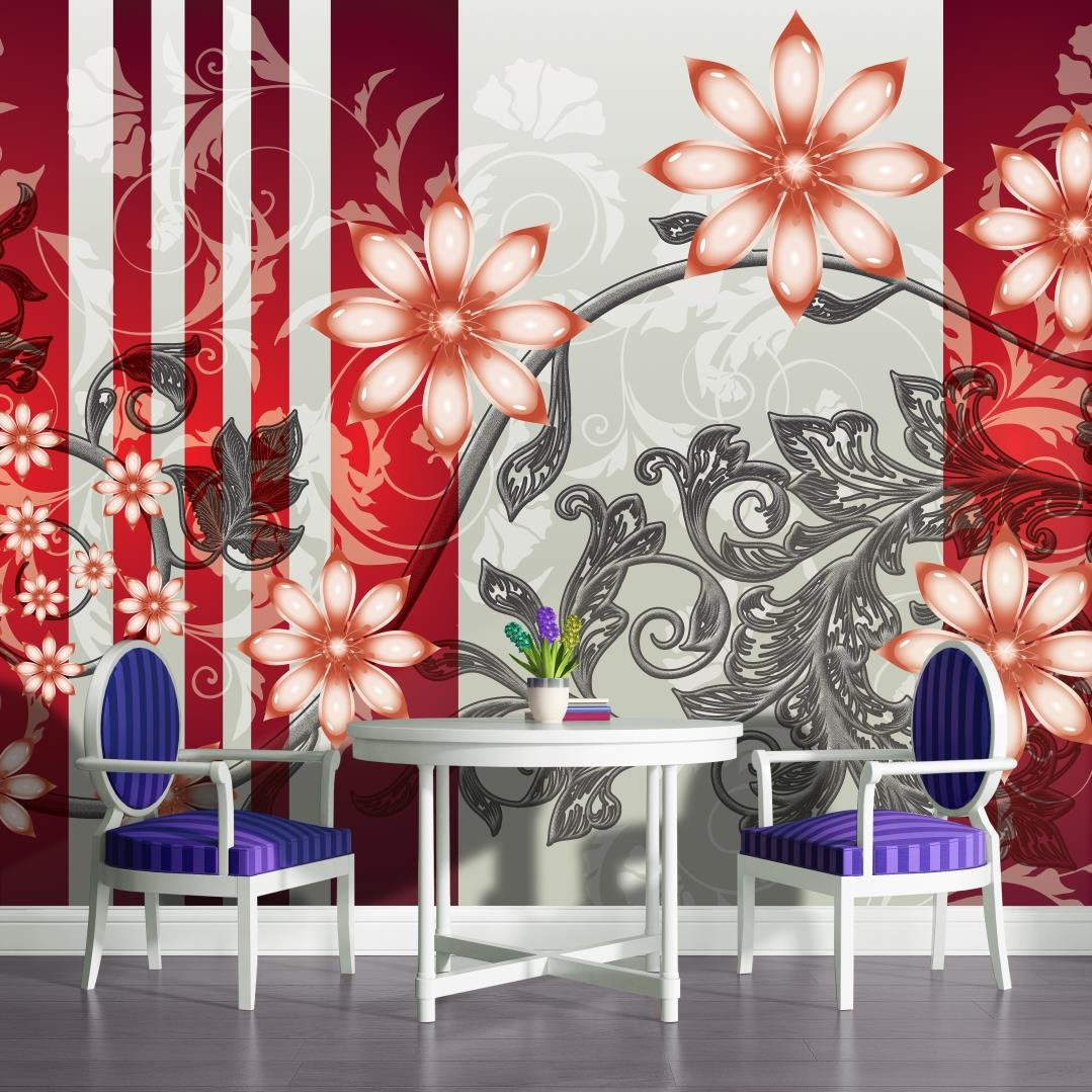 Red and Grey Luxury Flower Pattern Wallpaper Mural
