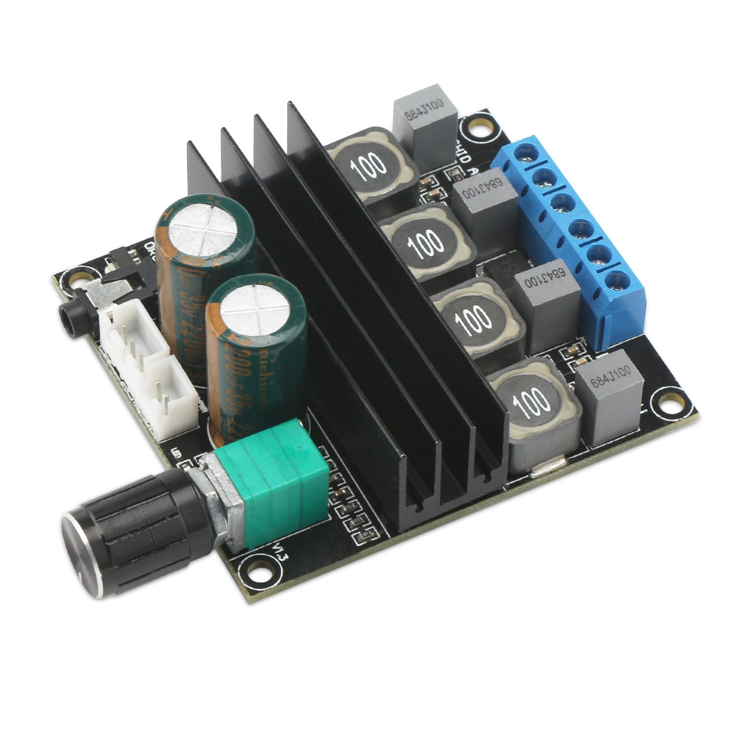 Digital Amplifier Board, DROK HiFi Dual Channel Stereo Audio Amplifier DC10-25V Digital 2.0 Power Amp Board 100W Output with Volume Adjustment Knob by DROK