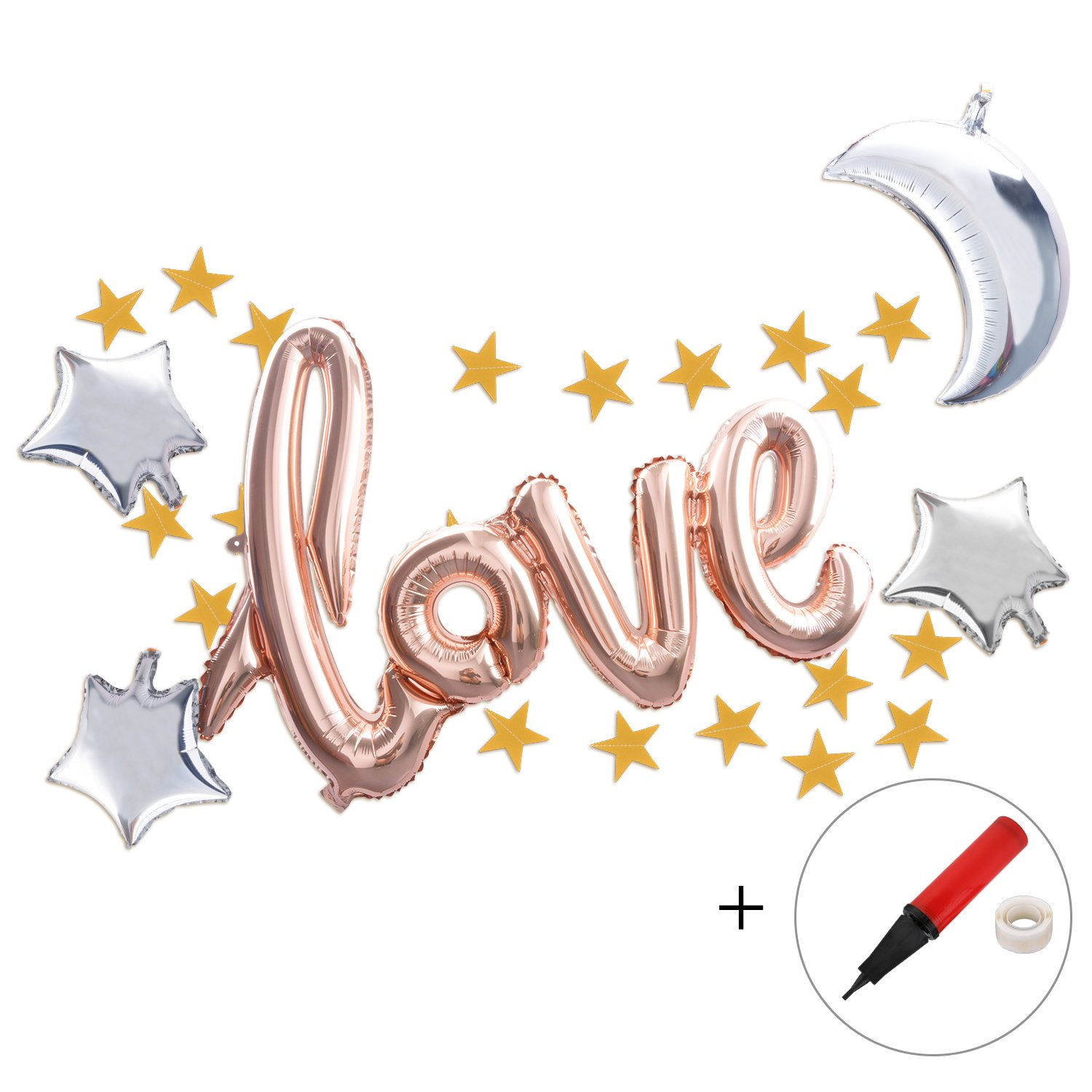 Valentines Balloons, Funpa 1 Love Balloons and 3 Star Balloons and 1 Moon Balloon and 1 String Stars Banner 1 Pump for Free