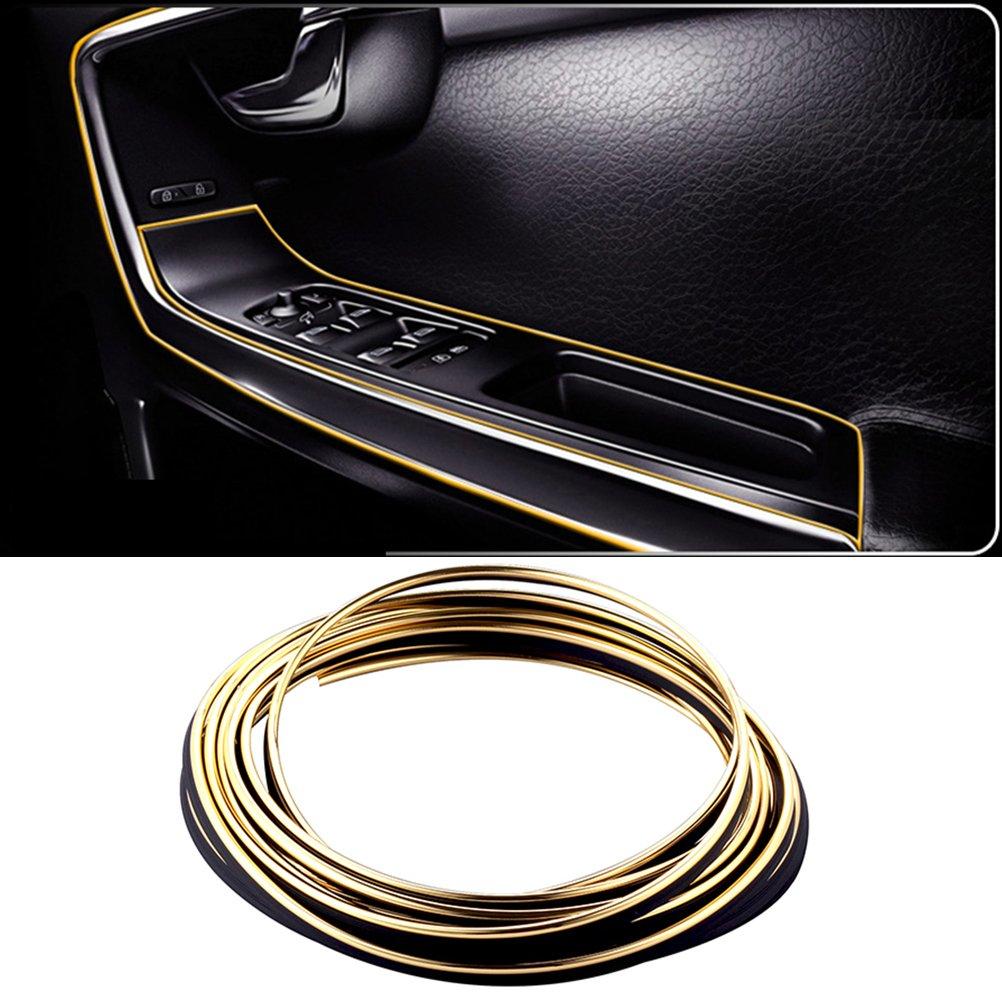 dorado WINOMO 5m coche decorativo para Interior del autom/óvil de coches Exterior Moldeado Trim Line Strip DIY