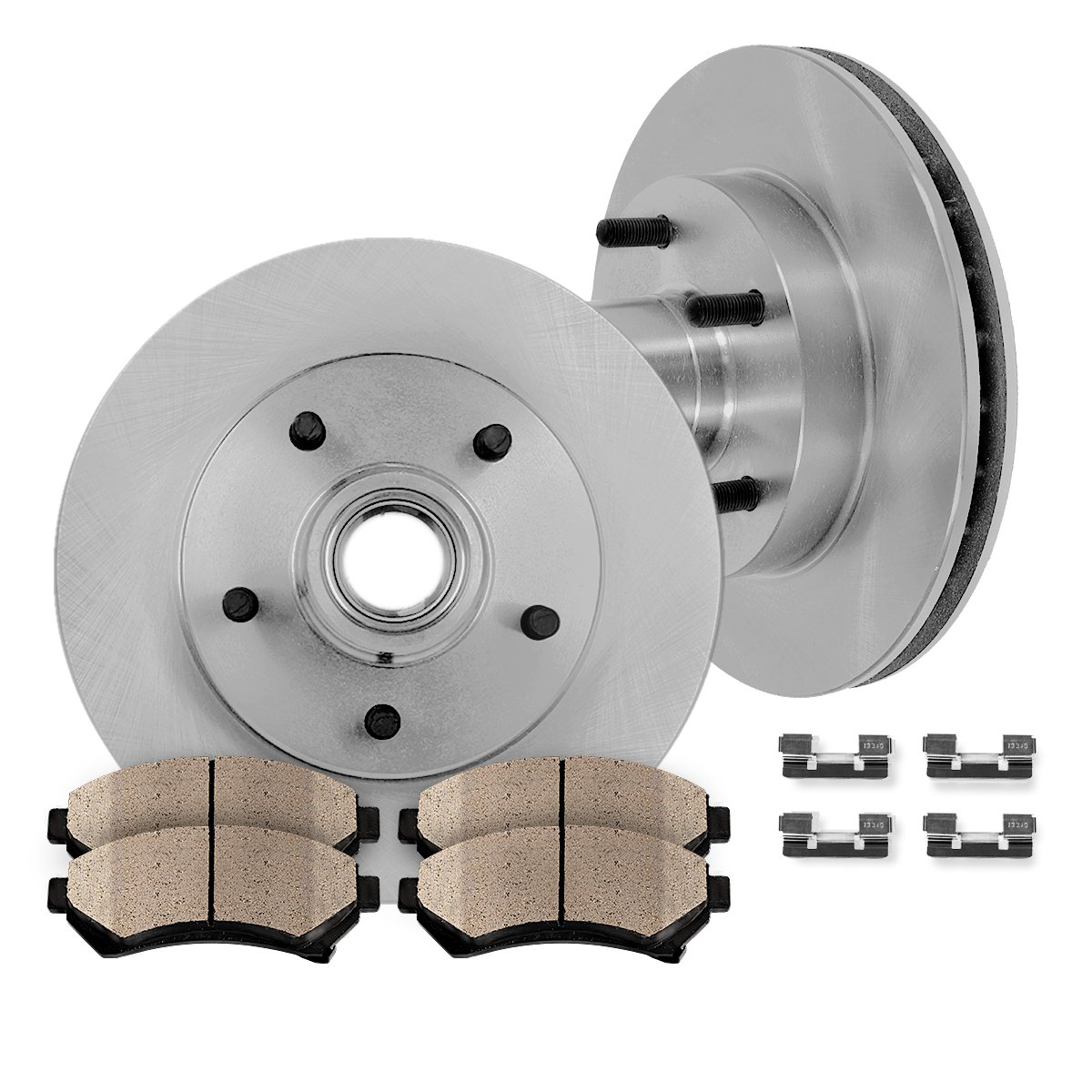 [ RWD ] FRONT 308 mm Premium OE 5 Lug [2] Brake Disc Rotors + [4] Ceramic Brake Pads + Clips