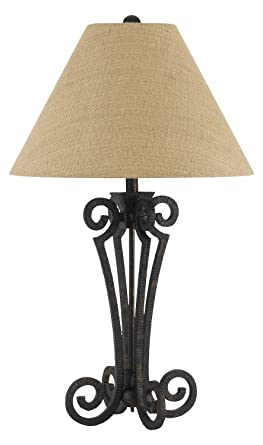 150w 3 Way Blacksmith Wrought Iron Table Lamp With Burlap Shade