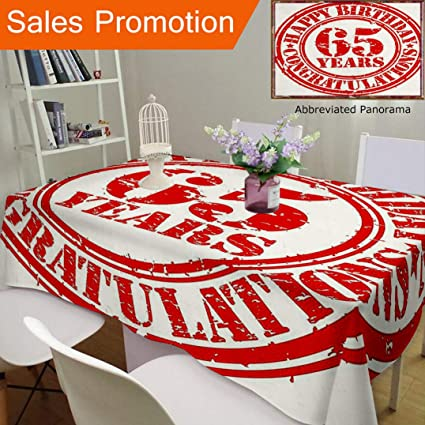 Unique Design Cotton And Linen Blend Tablecloth 65Th Birthday Decorations Sixty Five Years Congrats Symbol Icon