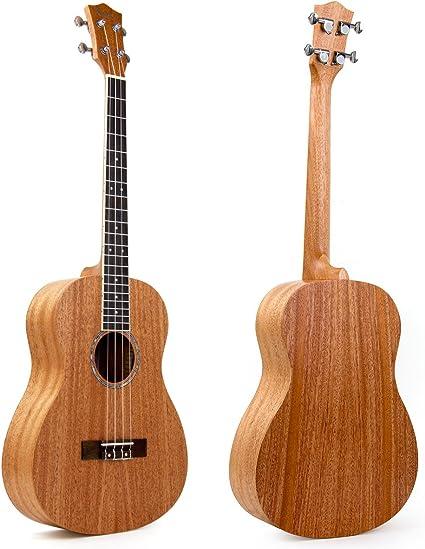 Kmise - Ukelele barítono de caoba, 76 cm, 4 cuerdas, guitarra ...