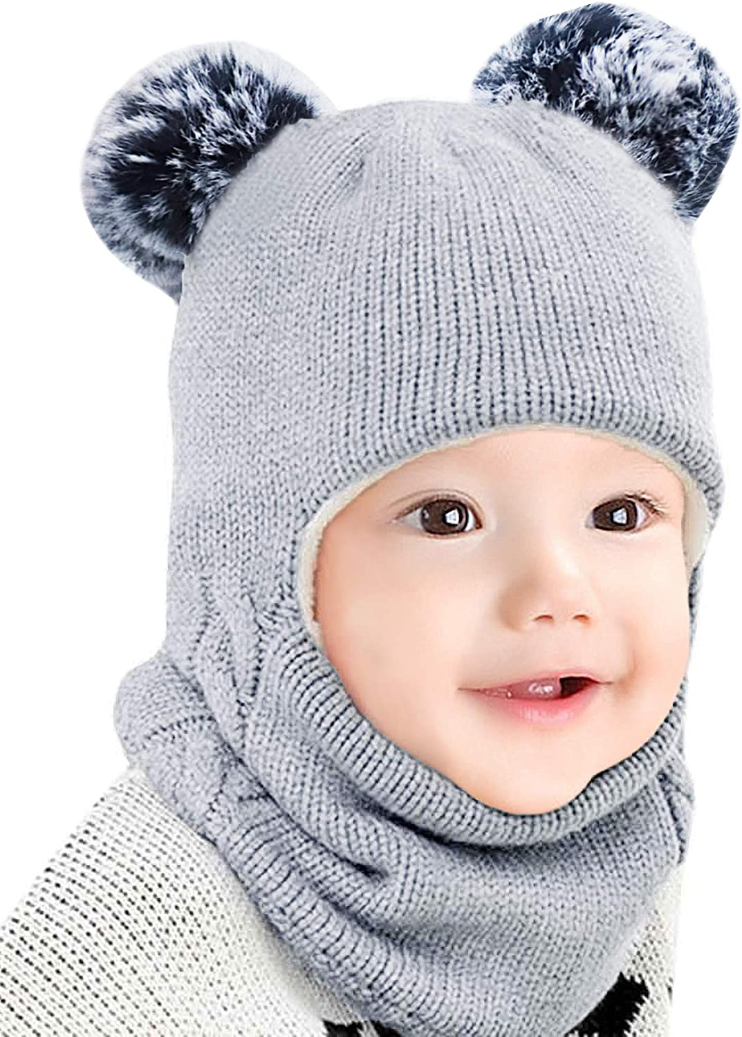 Kids Winter Hat with Ear-Flaps Scarf,Toddler Girls Boys Knit Beanie Fleece,Baby Hood Skull Caps,1-4T Pink