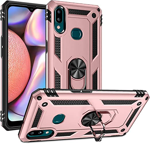 Newseego Compatible Samsung Galaxy Note 10 Case with Armor Dual Layer 2 in 1 with Extreme Heavy Duty Protection and Finger Ring Holder Kickstand Fit Magnetic Car Mount for Samsung Note 10-Black
