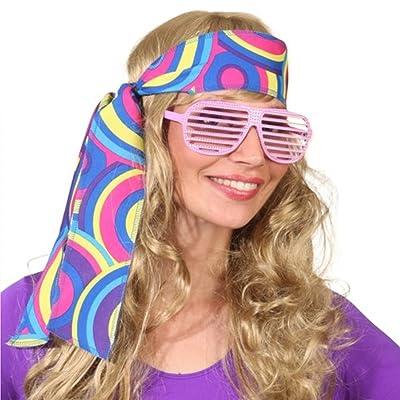 NET TOYS Bandeau années 70 serre-tête hippie bleu Turban Flower Power années 60 cheveux Peace accessoire carnaval soirée déguisée costume de carnaval accessoires