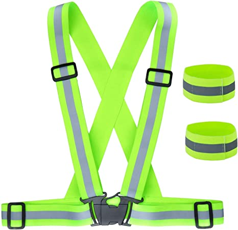 Welltop High Visibility Safety Vest LED Reflective Vest Elastic and Adjustable Safety Vest with 7 Bright LED 3 Modes for Night Cycling Motorcycle Dog Walking