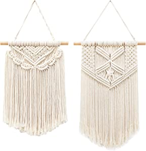 "Taufey 2 Pcs Small Macrame Wall Hangings Art Woven Boho Chic Wall Decor Home Decoration for Apartment Bedroom Living Room Hallway, 13"" L x 10"" W and 16"" L x 10"" W"