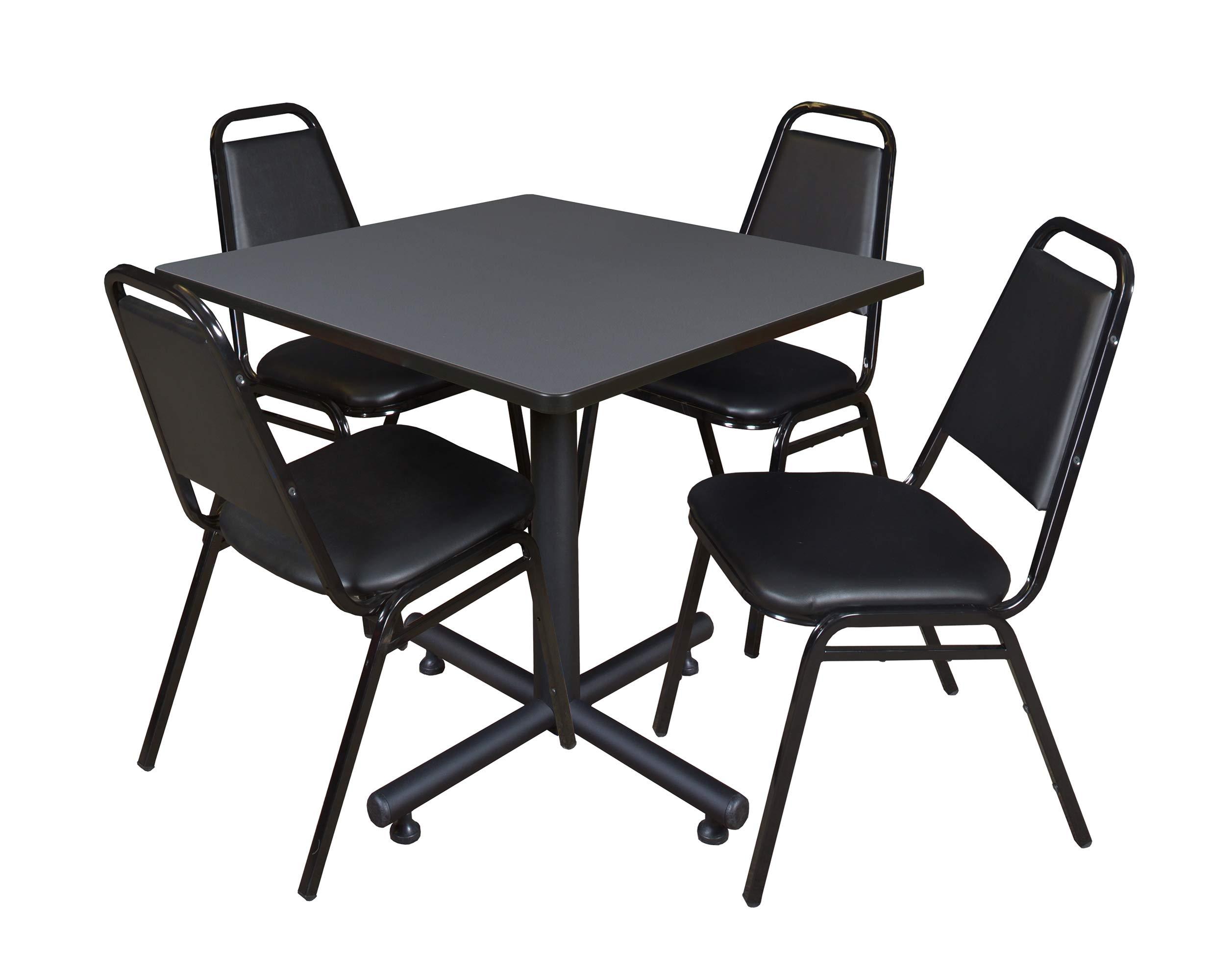 Regency Kobe 42-Inch Square Breakroom Table, Grey, and 4 Restaurant Stack Chairs, Black by Regency Seating