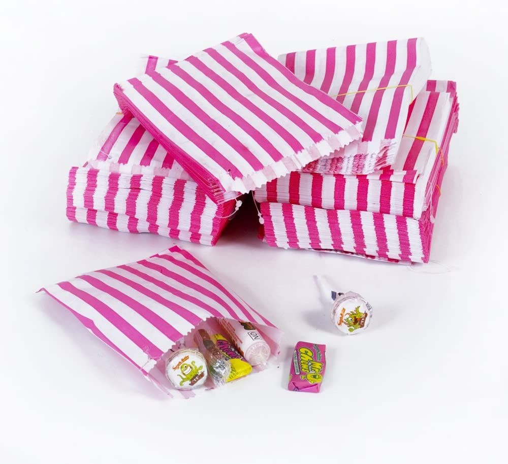 "50 Purple Candy Stripe Paper Wedding Sweet Bar Gift Shop Food Party Bags 7/"" x 9/"""