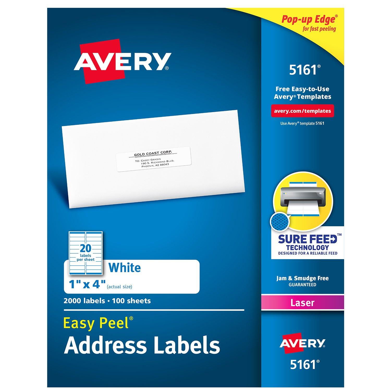 Avery 5161 Addressing Label Addressing Labels White Laser 1 X 4