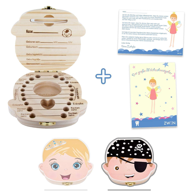 ZWEN MILCHZAHNBOX 3.0 [Princesse & Pirates] + Jolie languette à dents dentelée incluse (français non garanti) Boîte à dents pour fille et garçon