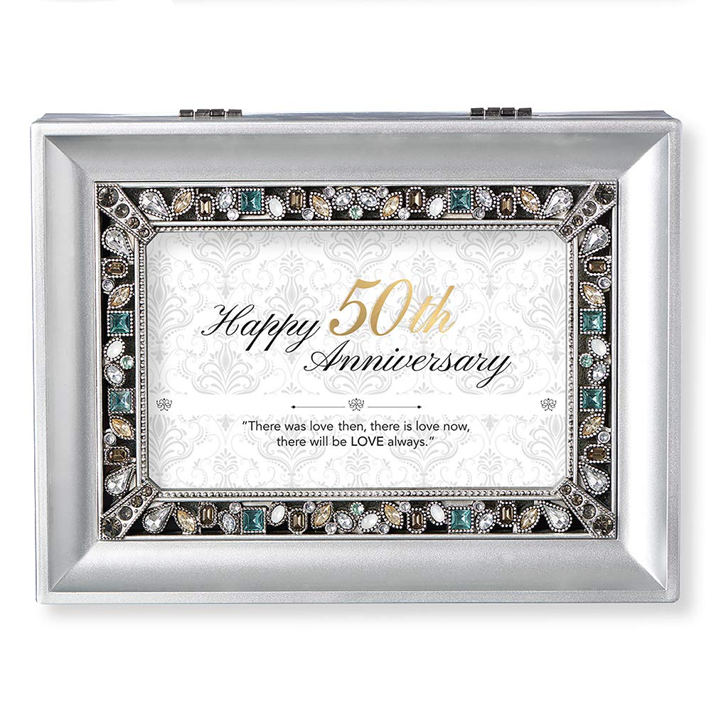 Roman Music Boxes - 50th Anniversary Pearlized Silver Finish with Pearl Jeweled Insert Music Box - Plays Clai De Lune