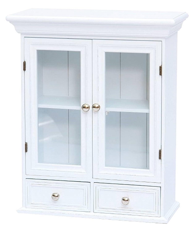 elbmöbel Hängeschrank Holz mit zwei Holztüren mit Glastür zwei ...