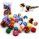 LASOCUHOO Cat Toys, Kitten Ball Toys Assortments, Variety Ball Toy Set, 8 Types Including Rainbow Ball, Crinkle Ball, Sparkle