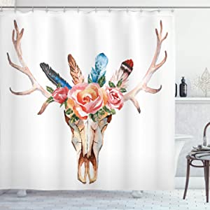 Ambesonne Antler Shower Curtain, Bohemian Deer Head Skull Ornate with Roses and The Feathers Hand Drawn Art Print, Cloth Fabric Bathroom Decor Set with Hooks, 84