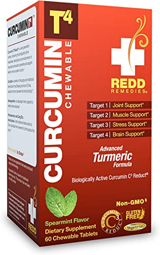 Redd Remedies – Curcumin T4 Chewable, Promotes Joint Comfort and Response to Stress, 60 Count