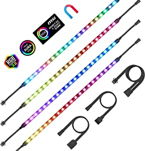 PC Addressable RGB LED Strip Lights Aclorol Magnetic LED Light Strip for PC Case DIY Lighting 5V 3-pin ARGB Headers 14in 4PCS 84 LEDs Compatible with ASUS Aura Gigabyte Fusion MSI Mystic Motherboard