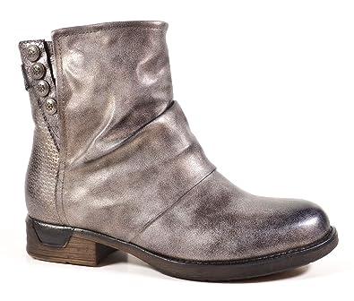 Damen Stiefeletten Biker Boots Nieten Schnallen Knöchelhohe Stiefel Leder- Optik QBZ04 (36, Grau 59bba6cfdb