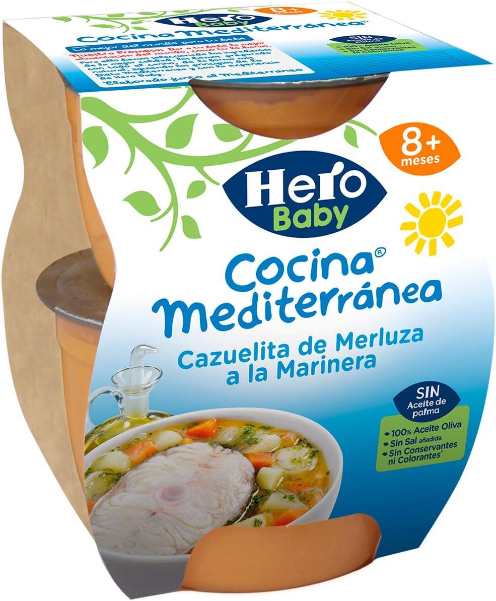Hero Baby Cocina Mediterránea Cazuelita de Merluza a la Marinera Tarritos de Puré para Bebés a partir de 8 meses Pack de 6 u de 2 x 200 g