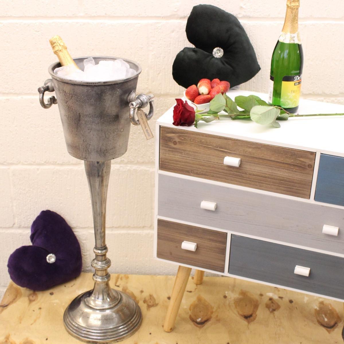 Floor Standing Champagne Bucket Distressed Look Heavy Wine Cooler Ice Bucket