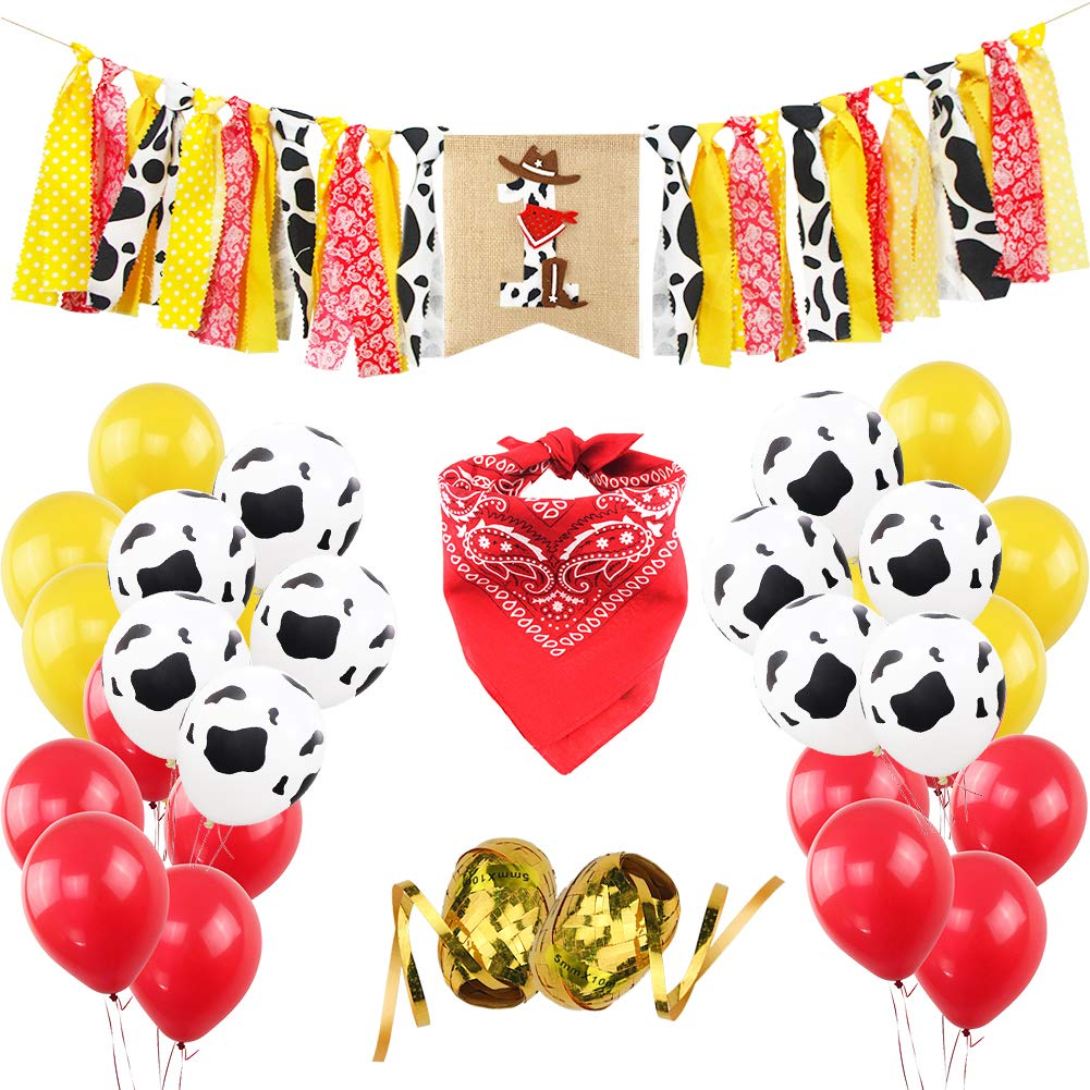 Cowboy 1ST Birthday Party Decorations Kit Cowgirl First Handmade Theme High Chair Banner Red Bandanna 12 Inches Yellow Cowdairy Pattern