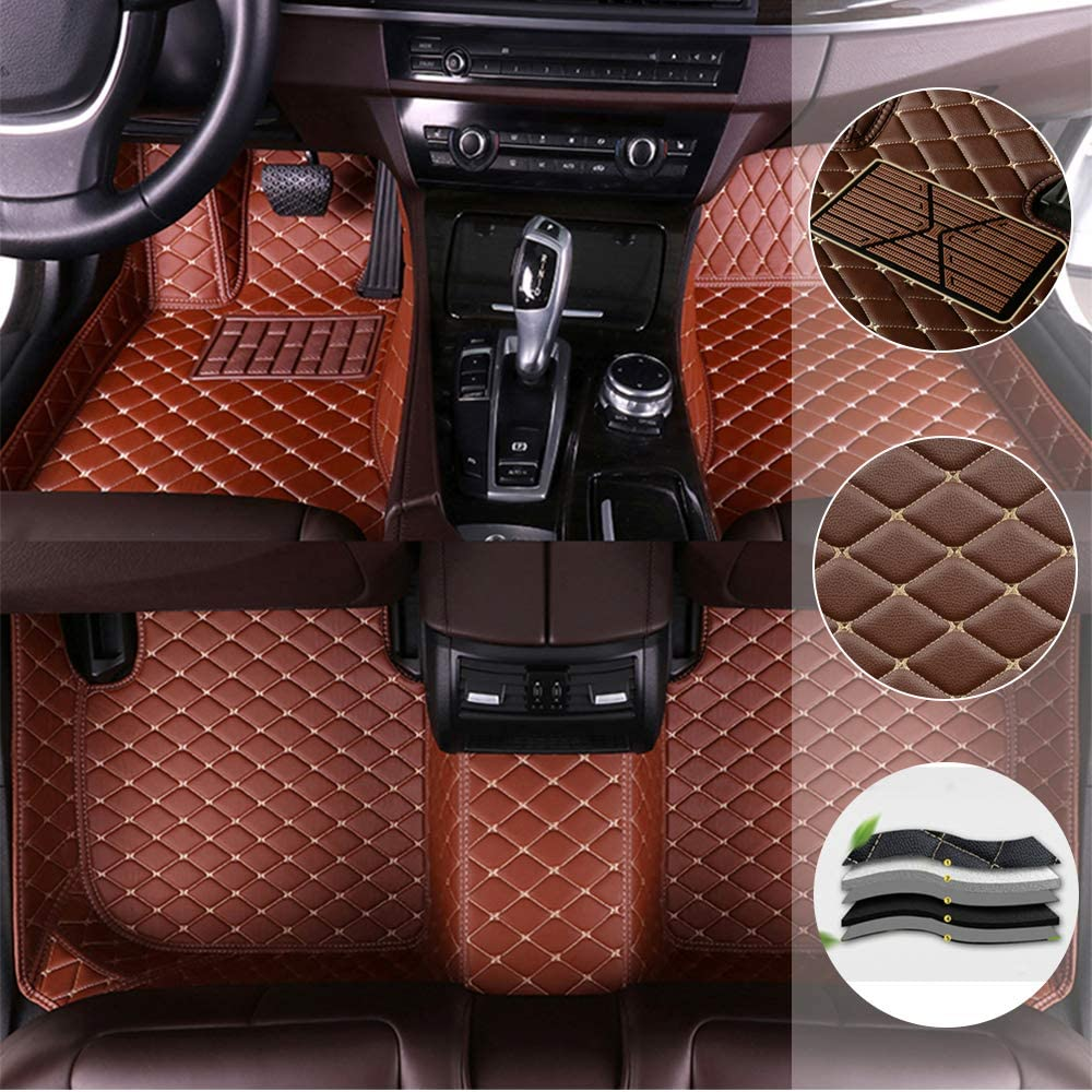 Car Floor Mat for Volkswagen VW Beetle A5 2012-2019 All Full Coverage Liner All Weather Waterpoof Non-Slip Leather Heavy Duty Custom Front Rear Mat Left Drive Brown