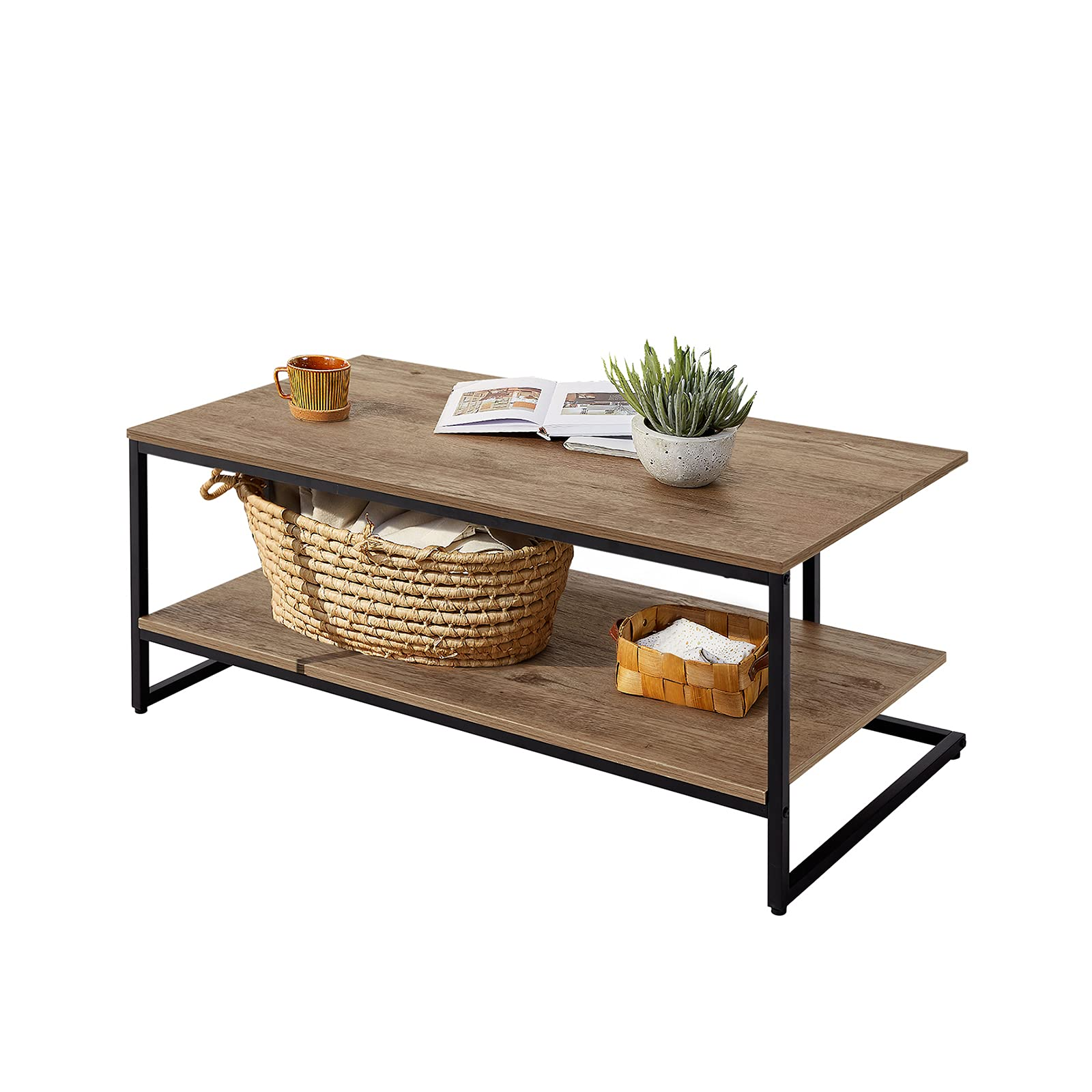 LINSY HOME 2-Tier Coffee Table p Design Wooden Rectangular Sofa Table with