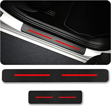 for Dodge Charger Door Sill Protector Reflective 4D Carbon Fiber Sticker Door Entry Guard Door Sill Scuff Plate Stickers Auto Accessories 4Pcs White