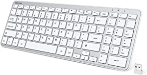 OMOTON 2.4G Wireless Keyboard Ultra Slim Keyboard with USB Receiver for Computer/Desktop/PC/Laptop/Surface/Smart TV and Windows 10/8/7, Silver