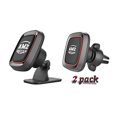 AMZ MEGAN [2 Pack] Magnetic Phone Car Mount Holder, Stick-on Dashboard and Air Vent Universal, Super Strong Magnet, 4 Metal Plate car Holder, 360° Rotation for Phones and Mini Tablets