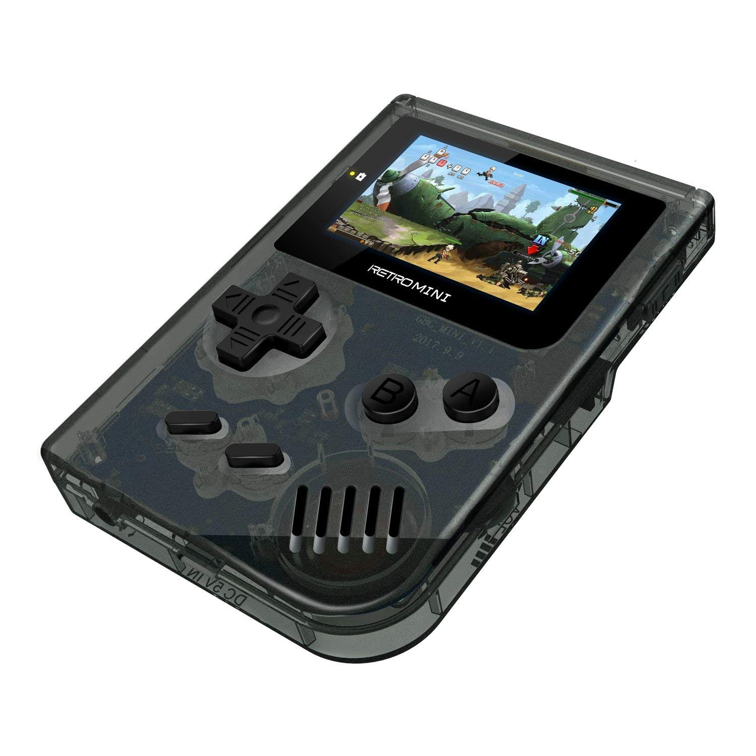 FLYFISH Retro Handheld Game Console,Portable FC Game Console 3 Inch 168 Classic Games Birthday Present for Children Transparent Black