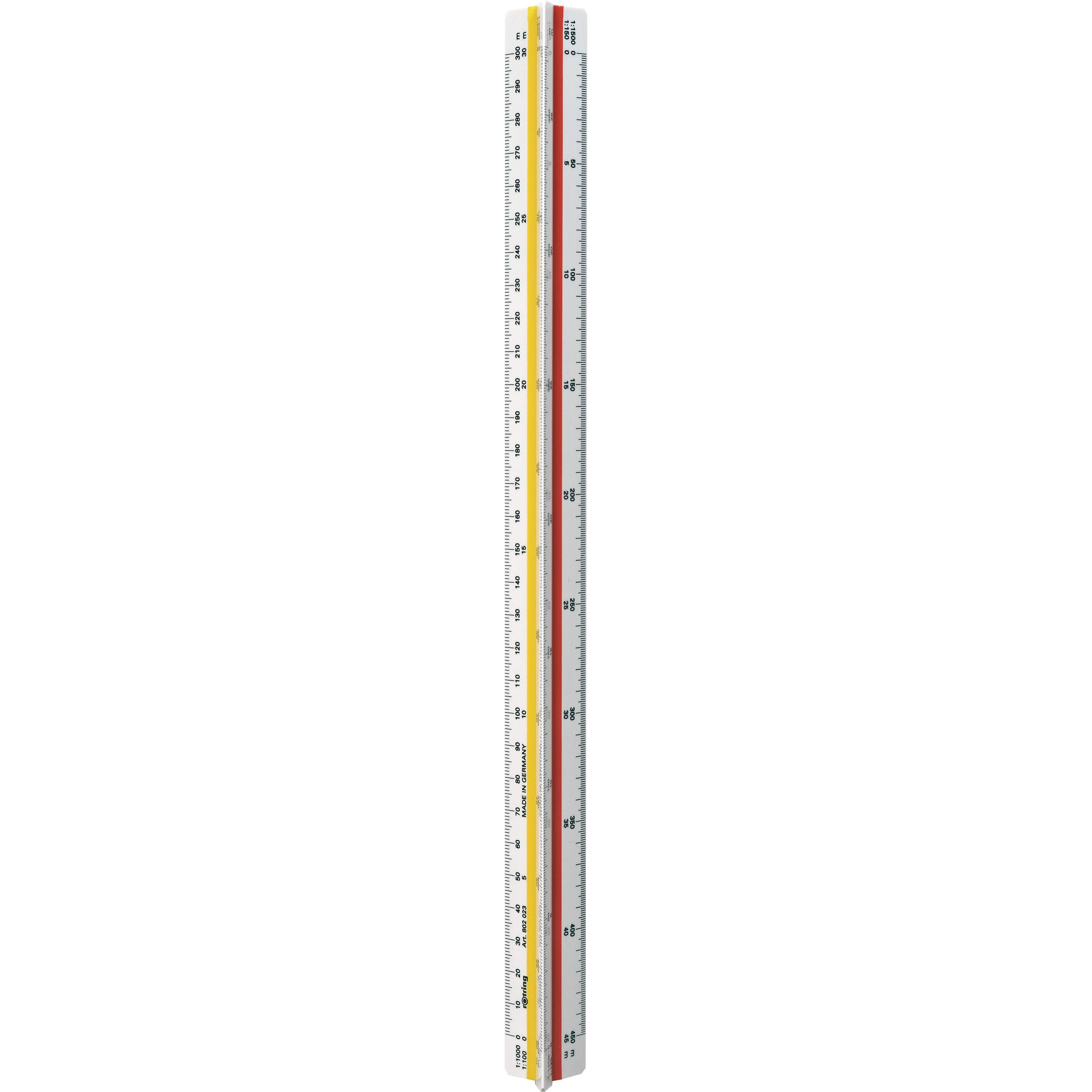 Rotring Ruler Triangular Reduction Scale 6 Surveying 1-25 to 1-2500 with 2 Coloured Flutings Ref S0220721 by Rotring
