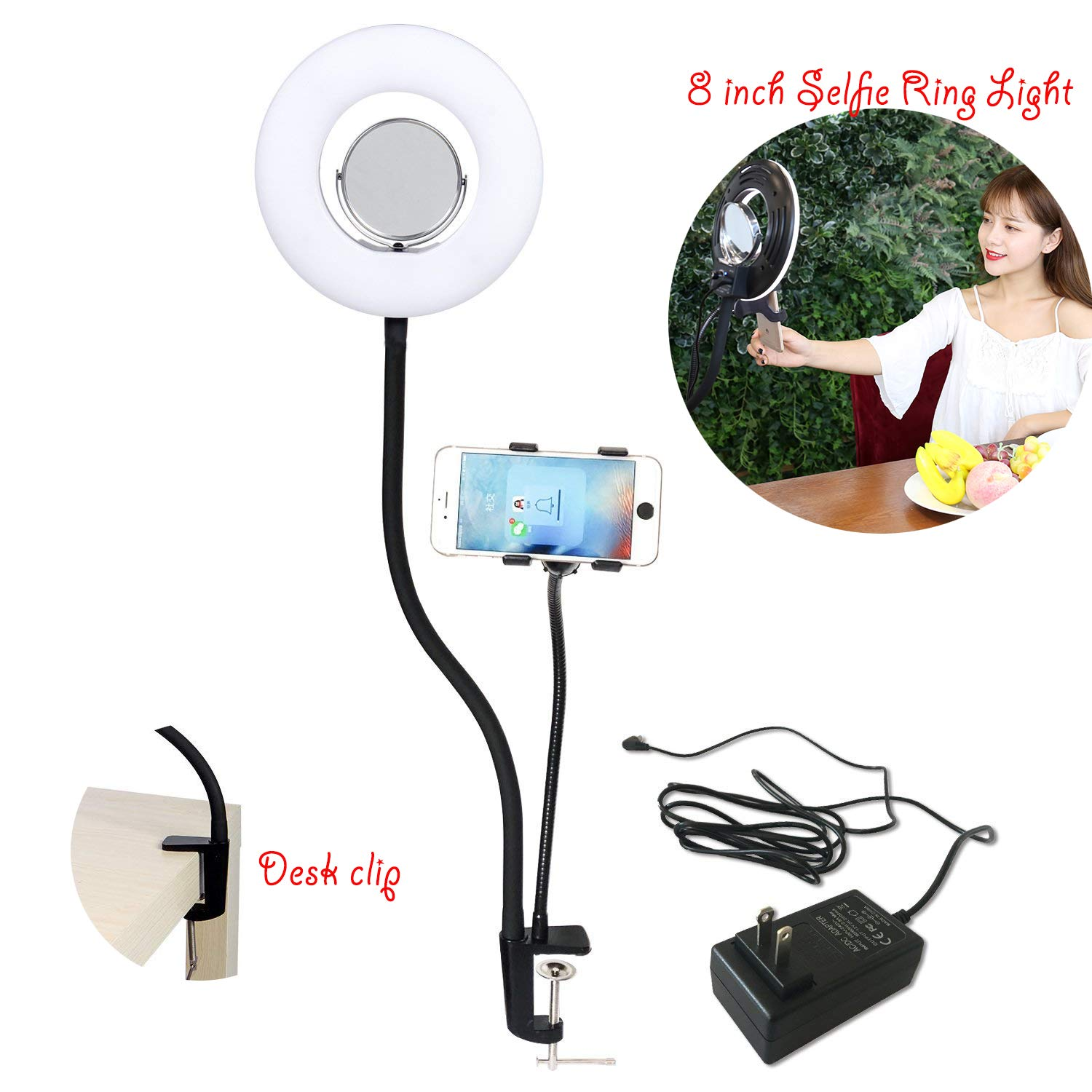 8-inch 24W Selfie Ring Light with Cell Phone Holder and Makeup Mirror for Makeup YouTube Video Live Stream 5500K Dimmable Clamp-on Light,with Lazy Bracket Flexible Arms Compatible with iPhone Android by TRUMAGINE