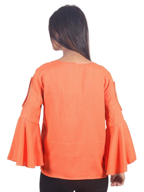 fffe2f179ffc9 Secret Bazaar Women s Rayon Pain Cold Shoulder Top(Orange)  Amazon.in   Clothing   Accessories