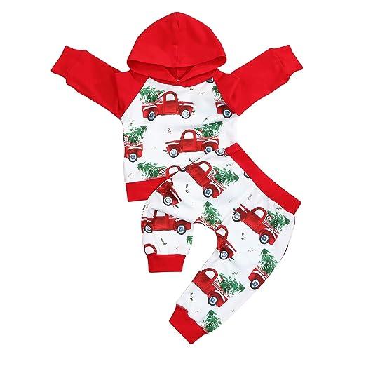 3462e2f21 Amazon.com  2Pcs Xmas Newborn Baby Boys Girls Outfits Car Hoodie ...
