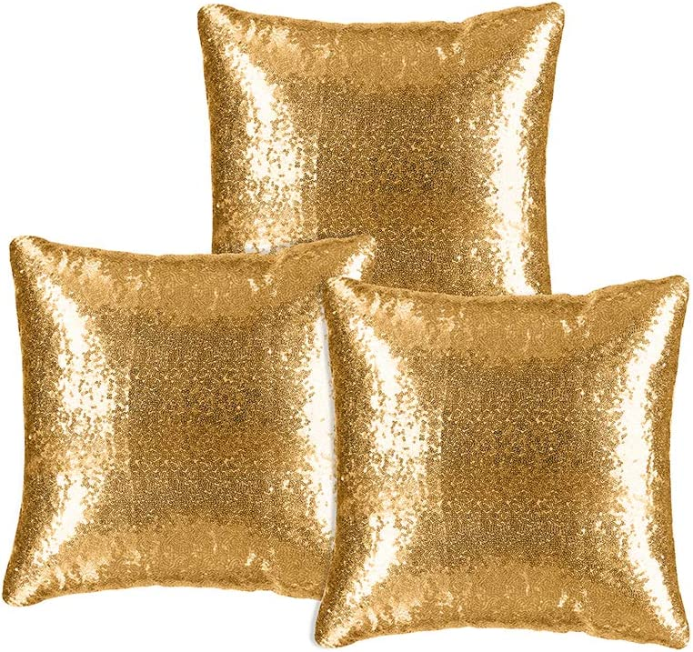 Kivvo Sequin Pillow Covers Set of 3, Sparkling Pillowcase Cushion Cover for Party Decoration, Square 18inch(45cm) (Gold)