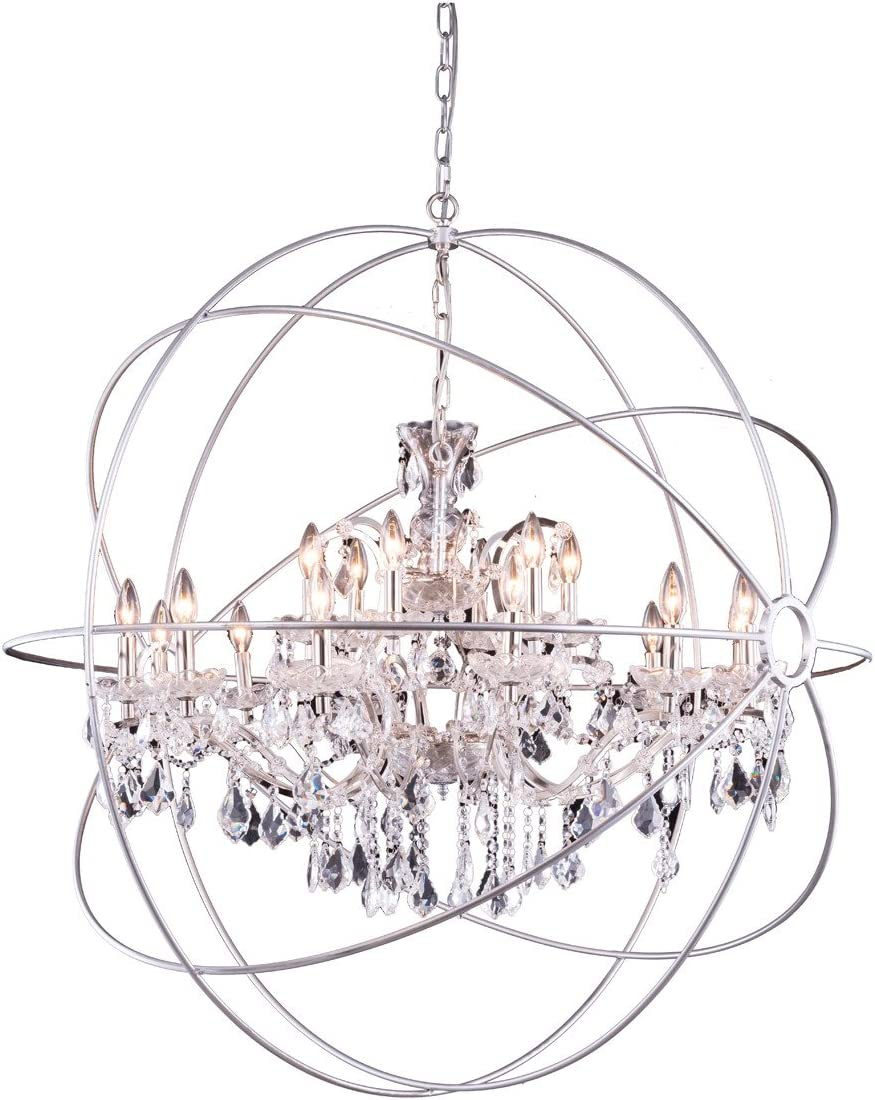 Elegant Lighting Geneva Collection 18-Light Pendant Lamp with Royal Cut Crystals, Polished Nickel Finish