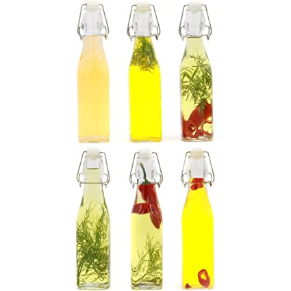 Maison & White Juego de 6 botellas Tapa Clip | Botellas de vidrio hermético | Ideal